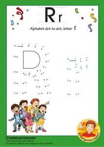 Alphabet dot to dot letter R, kindergarten expert, free printable