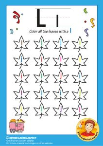 Color all the leaves with a L, kindergarten expert, free printable