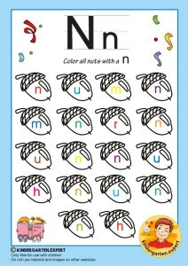 Color all the nuts with a N, kindergarten expert, free printable