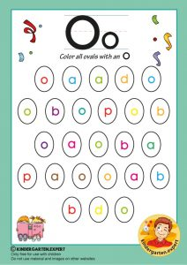 Color all the ovals with an O, kindergarten expert, free printable