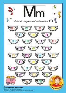 Color all the pieces of melon with a M, kindergarten expert, free printable