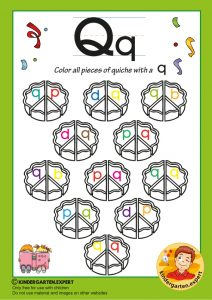 Color all the pieces of quiche with a Q, kindergarten expert, free printable