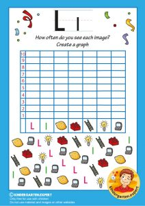 Create a graph, letter L for kids, kindergarten expert, free printable