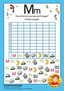 Create a graph, letter M for kids, kindergarten expert, free printable