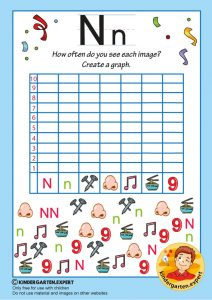 Create a graph, letter N for kids, kindergarten expert, free printable