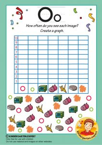 Create a graph, letter O for kids, kindergarten expert, free printable