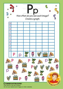 Create a graph, letter P for kids, kindergarten expert, free printable