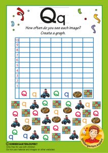 Create a graph, letter Q for kids, kindergarten expert, free printable