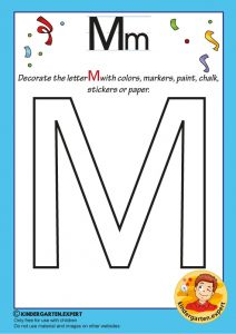 Decorate the capital letter M with colors, markers, paint, chalk,, kindergarten expert, free printable