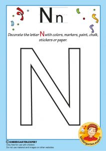 Decorate the capital letter N with colors, markers, paint, chalk,, kindergarten expert, free printable