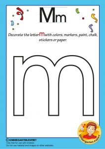 Decorate the letter m with colors, markers, paint, chalk,, kindergarten expert, free printable