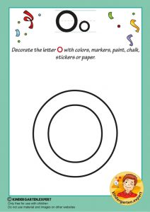 Decorate the letter o with colors, markers, paint, chalk,, kindergarten expert, free printable