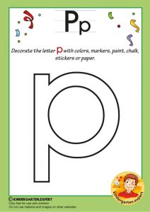 Decorate the letter p with colors, markers, paint, chalk,, kindergarten expert, free printable