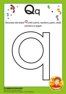 Decorate the letter q with colors, markers, paint, chalk,, kindergarten expert, free printable