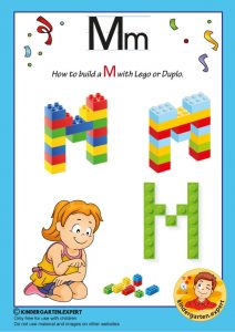 How to build a M with Lego or Duplo, kindergarten expert, free printable
