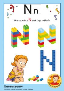 How to build a N with Lego or Duplo, kindergarten expert, free printable