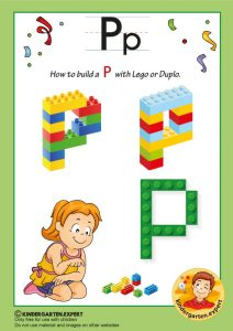 How to build a P with Lego or Duplo, kindergarten expert, free printable
