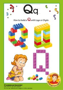 How to build a Q with Lego or Duplo, kindergarten expert, free printable