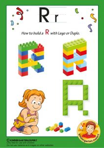 How to build a R with Lego or Duplo, kindergarten expert, free printable