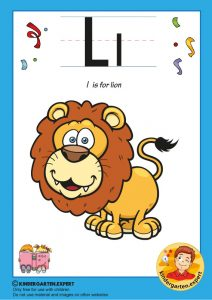L is for lion, kindergarten expert, free printable