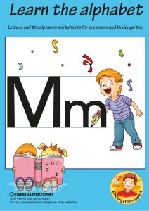 Letters & alphabet worksheets for preschool and kindergarten, letter M, kindergarten expert, free printable