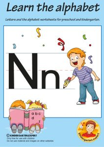 Letters & alphabet worksheets for preschool and kindergarten, letter N, kindergarten expert, free printable