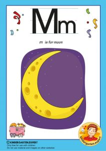 M is for moon, kindergarten expert, free printable