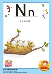 N is for nest, kindergarten expert, free printable
