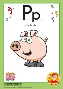 P is for pig, kindergarten expert, free printable