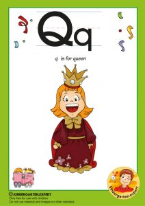 Q is for queen, kindergarten expert, free printable