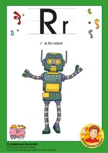 R is for robot, kindergarten expert, free printable