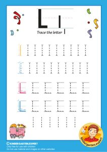 Trace the letter L for kindergarten, kindergarten expert, free printable