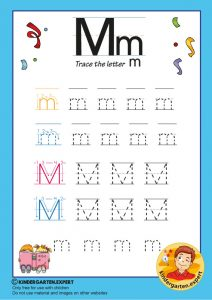 Trace the letter M for kindergarten, kindergarten expert, free printable