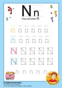 Trace the letter N for kindergarten, kindergarten expert, free printable