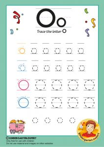 Trace the letter O for kindergarten, kindergarten expert, free printable