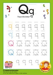 Trace the letter Q for kindergarten, kindergarten expert, free printable
