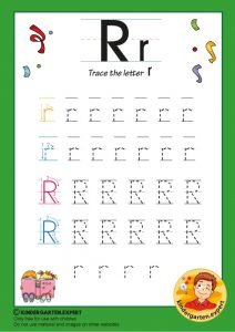 Trace the letter R for kindergarten, kindergarten expert, free printable