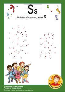 Alphabet dot to dot letter S, kindergarten expert, free printable