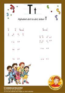 Alphabet dot to dot letter T, kindergarten expert, free printable