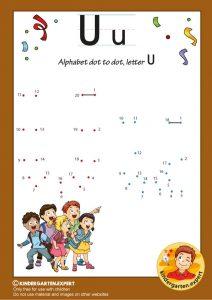 Alphabet dot to dot letter U, kindergarten expert, free printable