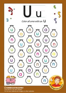 Color all the urns with an U, kindergarten expert, free printable