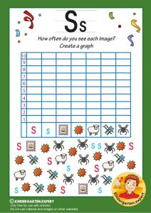 Create a graph, letter S for kids, kindergarten expert, free printable