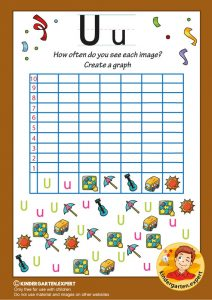 Create a graph, letter U for kids, kindergarten expert, free printable