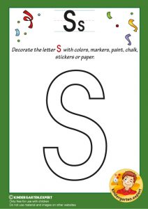 Decorate the capital letter S with colors, markers, paint, chalk,, kindergarten expert, free printable