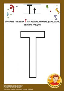 Decorate the capital letter T with colors, markers, paint, chalk,, kindergarten expert, free printable