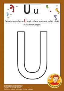 Decorate the capital letter U with colors, markers, paint, chalk,, kindergarten expert, free printable