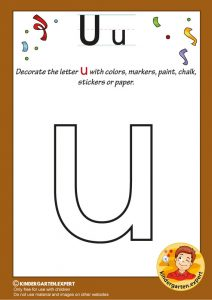 Decorate the letter u with colors, markers, paint, chalk,, kindergarten expert, free printable