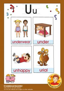 Early Childhood Sight Words, letter U, for kindergarten, kindergarten expert, free printable