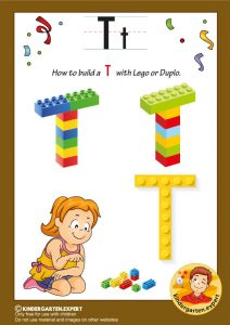 How to build a T with Lego or Duplo, kindergarten expert, free printable