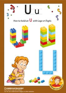 How to build an U with Lego or Duplo, kindergarten expert, free printable